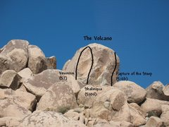Rock Climbing Photo: Photo/topo for The Volcano, Joshua Tree NP