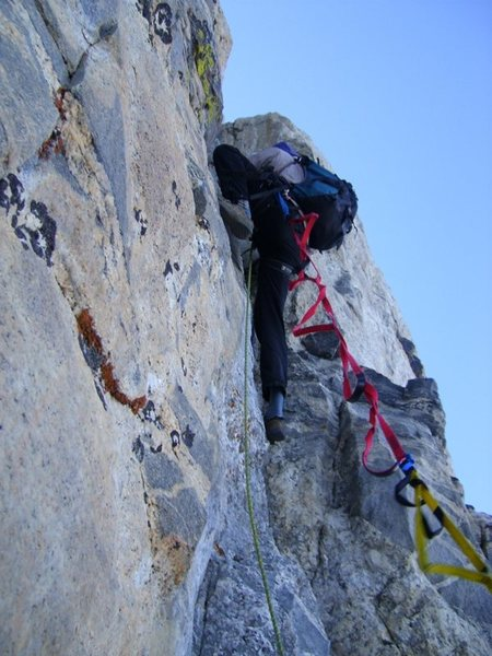 Rock Climbing Photo: Greg Collins leading first pitch.  Aider placed fo...