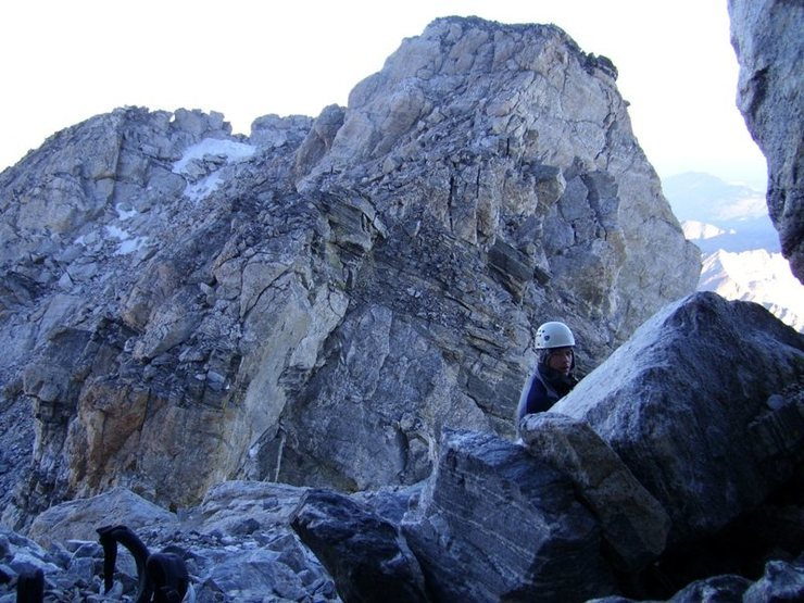 Looking west from ledge system above Upper Saddle.  Owen-Spalding is to the right in the photo; follow ledges left in photo to reach Pownall-Gilkey.