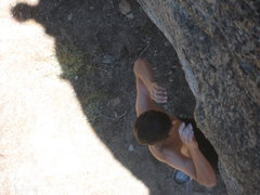 Rock Climbing Photo: Falling off after the crux of Fat Man's.  To be fa...