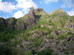 Rock Climbing Photo: Svolvaergeita from the town of Svolvaer.  The twin...