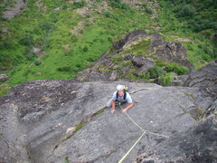 Rock Climbing Photo: Approaching the summit block, following the last p...