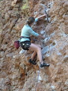 Rock Climbing Photo: Anna well on her way to a solid redpoint of Cobble...