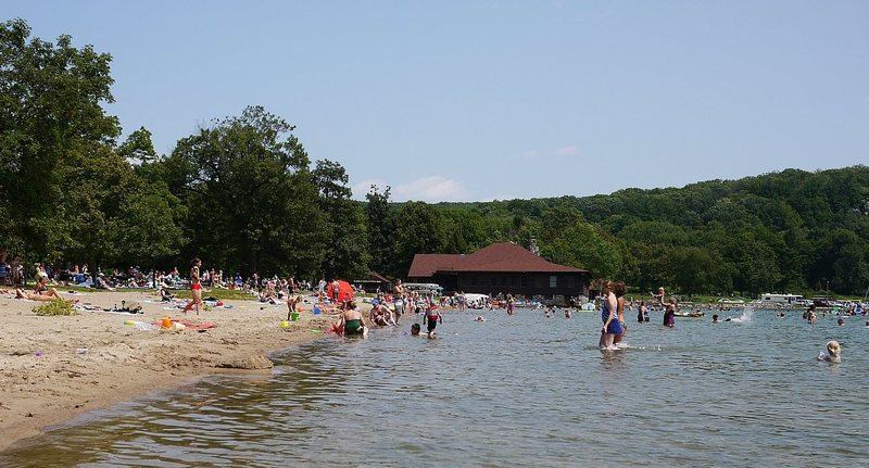 North Shore beach on a summer weekday.