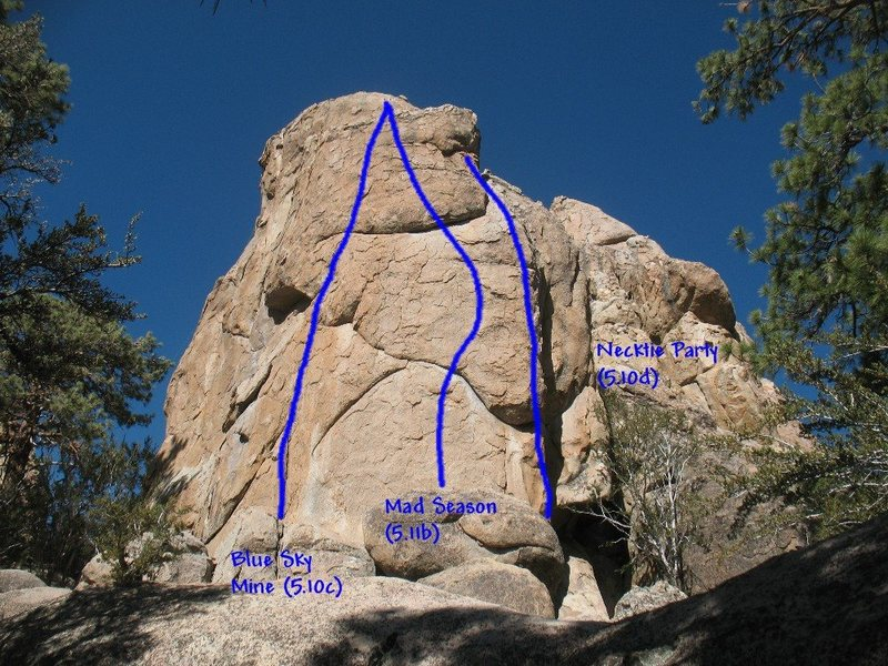 Photo/topo for Claim Jumper Wall (W. Face), Holcomb Valley Pinnacles