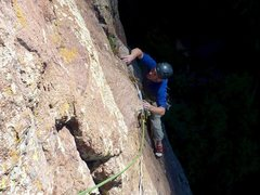 Rock Climbing Photo: Following pitch 1 in the tricky 5.10 section as th...