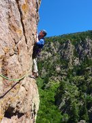 Rock Climbing Photo: The short traverse out right to start pitch 4.