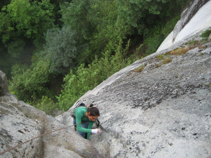 Rock Climbing Photo: knee bar makes the last crux section a breeze