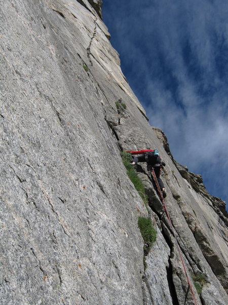 Rock Climbing Photo: Gordon starting off on P1.