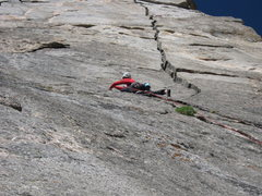 Rock Climbing Photo: Gordon firing P1 crux.