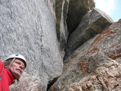 Rock Climbing Photo: Looking up at the start of P3.