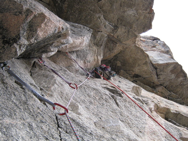 Rock Climbing Photo: Aaron leading P4.