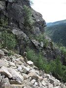 Rock Climbing Photo: Teresa Nagle descending the northern slide.