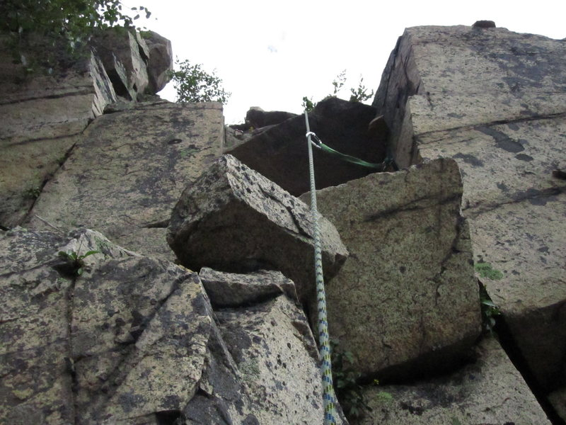 The granite block exit section of a recent rock slide.