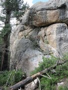 Rock Climbing Photo: John Baker on the easy ground between the two hard...