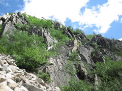 Rock Climbing Photo: The north rockslide buttress and the wet rock is p...