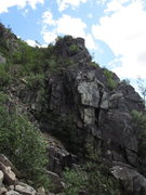 Rock Climbing Photo: Lower down on the north rockslide buttress.
