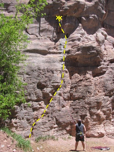 Rock Climbing Photo: Overall shot of the Dangling Participle - start to...