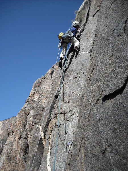 Rob Van Aernum on the second pitch climbing a 5 foot wedged flake that I subsequently cleaned with a flick of my big toe.