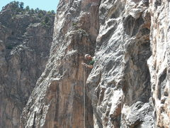 Rock Climbing Photo: Chris Kalous happy to have found the hidden belay ...