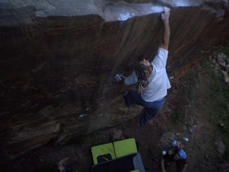 This is the five plus foot dyno on the big cubical boulder.  Learning to fly V7ish.