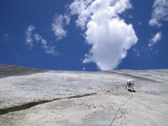 Rock Climbing Photo: Ian Stewart following first pitch of Hit or Miss (...