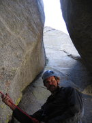 Rock Climbing Photo: Belaying under the chockstone. This final pitch be...