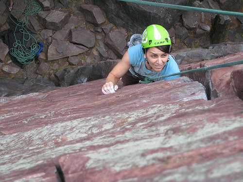 Local climber Angie at Devil's Lake Chicks Rock! in '09.