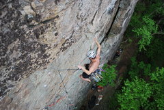 Rock Climbing Photo: Pumped out on and off of the big roof hold. Thanks...