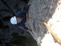 Rock Climbing Photo: Tracy on Tricouni Nail.  SD - July