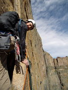 Rock Climbing Photo: Climber at the flake / ledge at base of crux pitch...