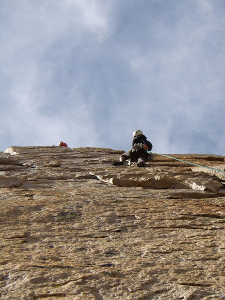 Climber on the crux pitch of Pervertical Sanctuary.  Saturday August 7th 2010.