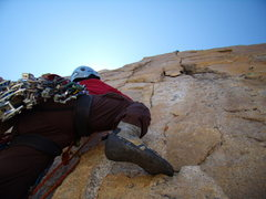 Rock Climbing Photo: Pat Peddy starting up the crux of Pervertical Augu...