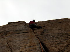 Rock Climbing Photo: Pat leads the wide pitch on Pervertical.  Awesome!