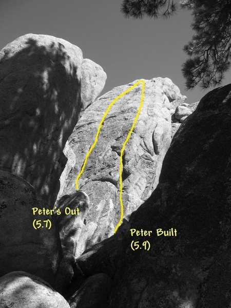Rock Climbing Photo: Photo/topo for the Double P Wall, Holcomb Valley P...