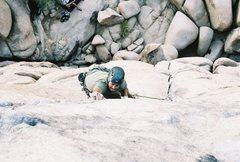 Rock Climbing Photo: Tim leading Sail Away.