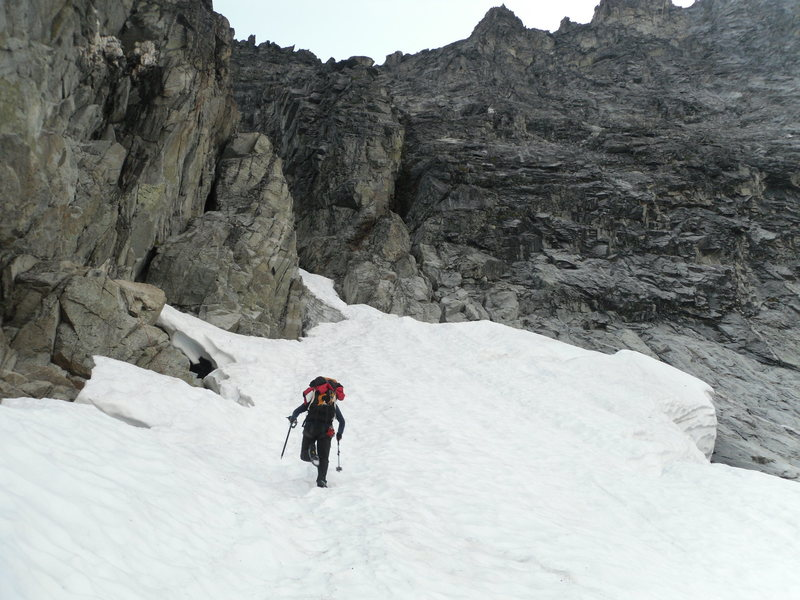 Almost at the base of the West Ridge Couloir.