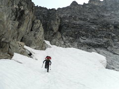 Rock Climbing Photo: Almost at the base of the West Ridge Couloir.