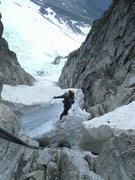 Rock Climbing Photo: At the moat halfway up the couloir, about to climb...