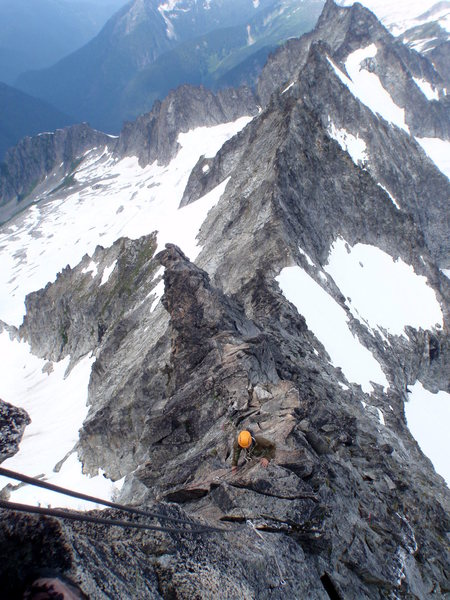 Looking down the West Ridge.  Continuing past is the ridgeline that makes up the Torment-Forbidden traverse.