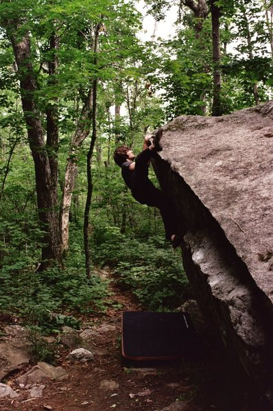 Fun problem traversing the lip of the boulder with The Onion. Next to Jaws.