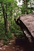 Rock Climbing Photo: Fun problem traversing the lip of the boulder with...