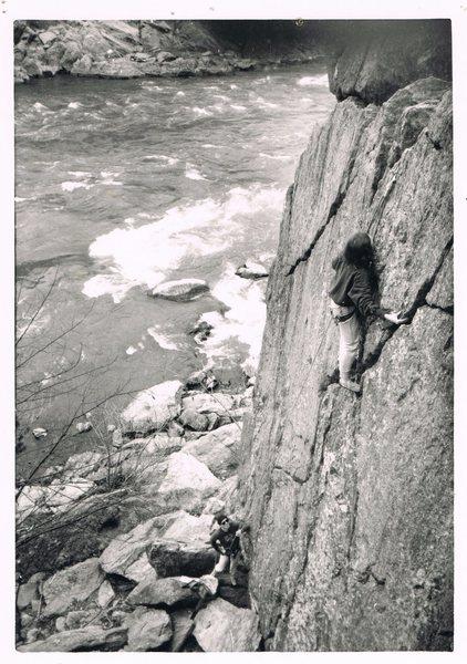 Rock Climbing Photo: Unnamed climbers on Romeo's Ladder. Photo circa 19...