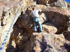 Rock Climbing Photo: Alex Climbing the route