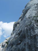 Rock Climbing Photo: You can see the first bolt.  The right edge of the...