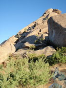 Rock Climbing Photo: Side shot of the route...from trail saddle at trai...