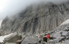 Rock Climbing Photo: Craig looking into the clouds, trying to see our r...