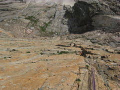 Rock Climbing Photo: Craig coming up P2, steeeeep!