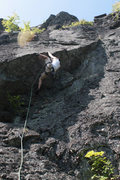 Rock Climbing Photo: Kevin pulling the first of two cruxes on Bridge to...