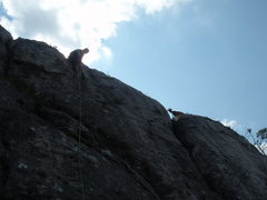 Rock Climbing Photo: Approaching the anchor, with company